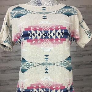 Chaps sz S Aztec knit Southwestern Cowgirl Shirt